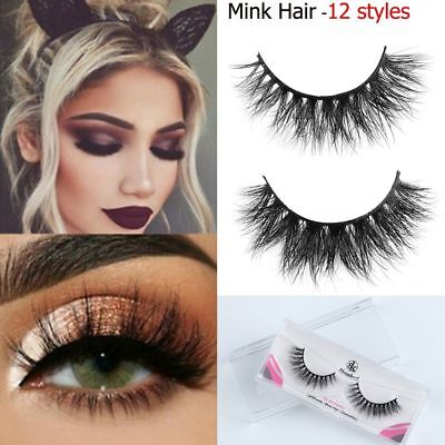 100% Mink Fur 3D False Eyelashes Full Volume Messy Cross Lashes Extension Makeup