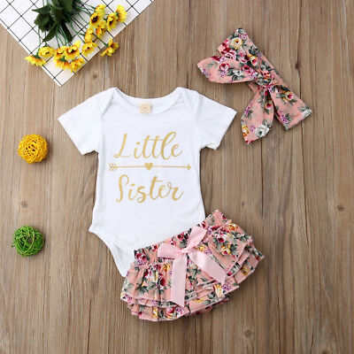 Newborn Baby Girls Romper Tops Jumpsuit Tutu Pants Headband Outfit Clothes Set