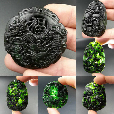 Natural Black Green Jade Hetian Stone Chinese Carved Hanging Pendant Necklace