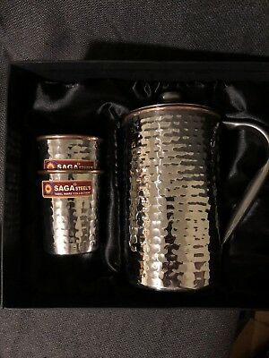 Crocery Wala and Company Hammered 99.5% Pure Copper And Steel Jug With 2 Glasses