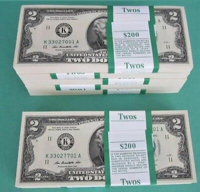 $2 Bill Uncirculated Sequential Two Dollar Crisp Note Banknote 1976 - 2013