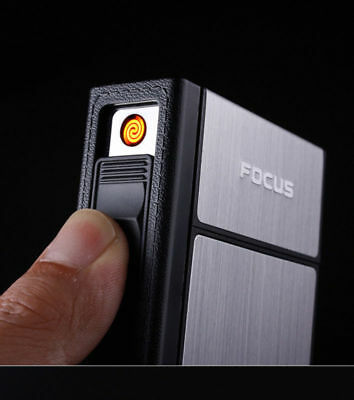 NEW FOCUS Rechargeable Cigarette Case Dispenser with Built in Torch Lighter