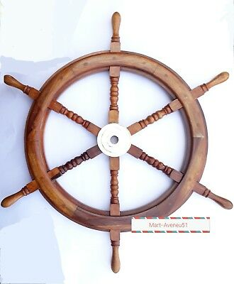 """30"""" Nautical Ship Wheel With Brass Ring Wooden Decorative - Collectible Gift"""