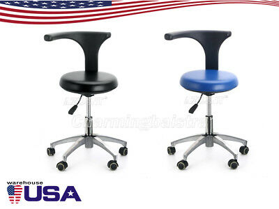 US Dental Doctor Assistant Stool Adjustable Height Mobile Chair PU Hard Leather