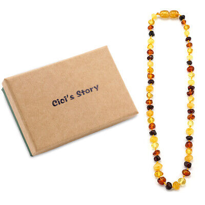 Teething Necklace for Baby (Cognac) - 3 Sizes - Gift Box