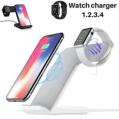 2in1 Qi Wireless Fast Charger Stand Station Dock For Samsung Apple Watch iPhone