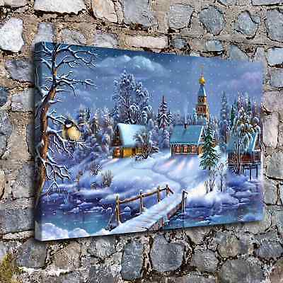 Christmas Night HD Canvas print Painting Home Decor Picture Wall art A3614