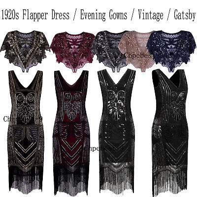 1920s Flapper Dress V Neck Beads Sequin Gatsby Dress Party Cocktail Evening Gown