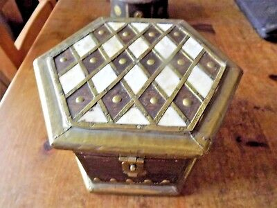 Antique Vintage Wooden Hand Made Rustic Hexagon Box / Chest