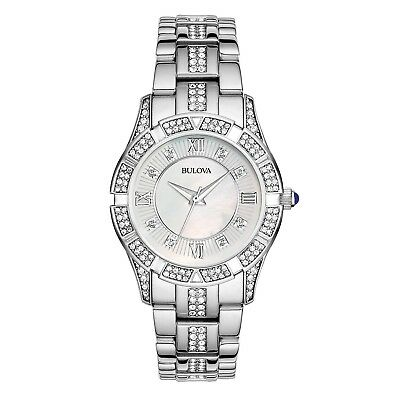 Bulova Women's 31mm Mother Of Pearl Crystal Stainless Steel Watch silver