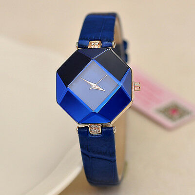 Women's Watches Faux Leather Band Crystal Analog Quartz Wrist Watch Blue Cosy