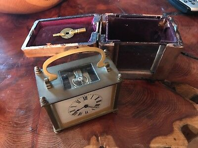Antique French Brass Minature Carriage Clock
