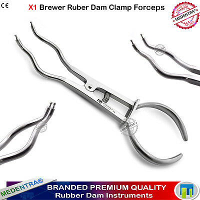 Dental Restorative Endodontic Brewer Rubber Dam Forceps Clamps Pliers 17.5cm CE