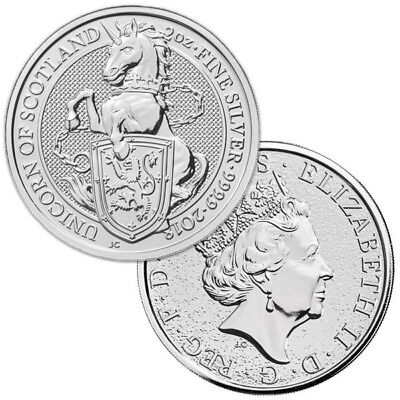 2018 £5 Royal Mint UK Queen's Beasts - Unicorn Scotland 2 oz .9999 Silver Coin.
