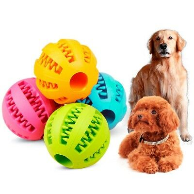 Durable Rubber Ball Chew Pet Dog Puppy Teething Dental Healthy Treat Toy UK
