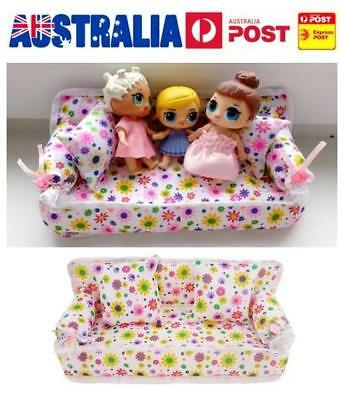 Mini Furniture Sofa Couch+2 Cushions For Barbie Doll House Accessories Girls Toy
