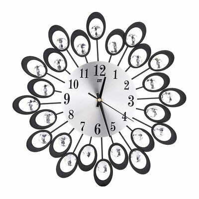 European Style Wrought-iron Wall Clock Diamante Quartz Silent Clock Home Decor
