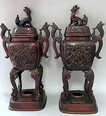 Antique Oriental Lidded Vases Covered Urns Dragons in Pair