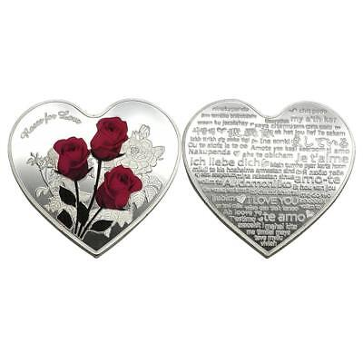 Love Heart Rose Metal Silver Commemorative Coin Valentine's Colle Gifts Day N3V3