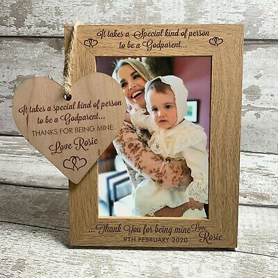 Godparent Personalised Photo Frame 7x5 Engraved Godmother Christening Gift