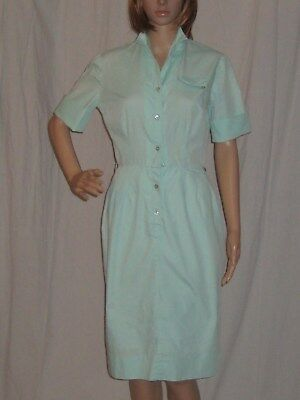 Vintage 1950s Day Dress by Miss Lucy Wiggle Pin Up Mint Green Cotton Small