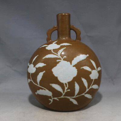 Antique Chinese 15thC Ming Carved Flower Porcelain Two Ears Flat Vases