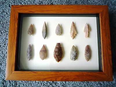 Neolithic Arrowheads in 3D Picture Frame, Authentic Artifacts 4000BC (1058)