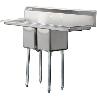 """54"""" 2 Compartment NSF Stainless Steel Commercial Sink with 2 Drainboards"""