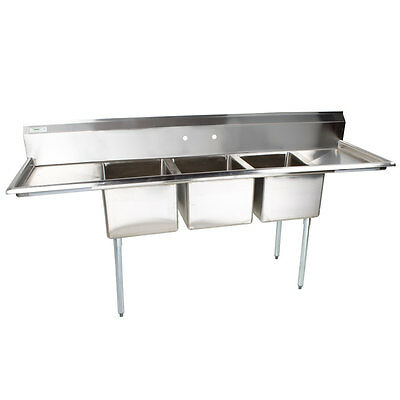 """103"""" NSF Stainless Steel 3 Compartment Commercial Pot Sink with 2 Drainboards"""