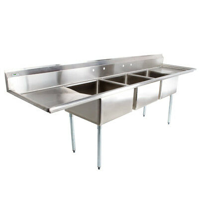 """121"""" 3-Compartment Stainless Steel Commercial Pot & Pan Sink with 2 Drainboards"""