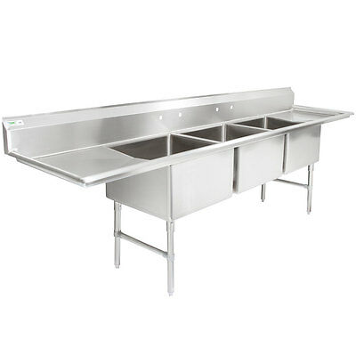 """124"""" 3 Compartment Stainless Steel Commercial Pot & Pan Sink with 2 Drainboards"""