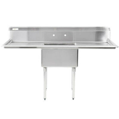 """71"""" One Compartment Stainless Steel NSF Restaurant Kitchen Sink with Drainboards"""