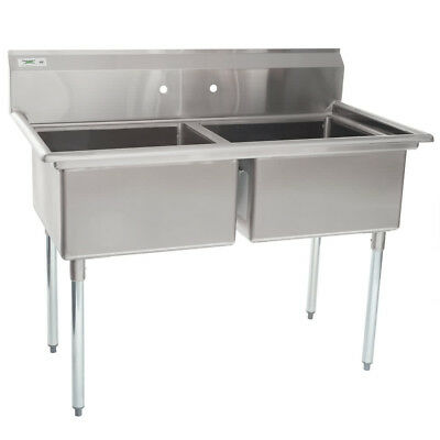 """53"""" 2-Compartment Restaurant Kitchen Stainless Steel Commercial Pot Prep Sink"""