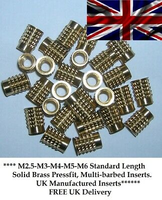 Threaded Solid Brass Barb Insert For Plastic Press-Fit M3 M4 M5 (100@ £10.50)M3