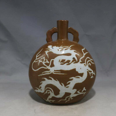 Antique Chinese 15thC Ming Carved Dragon Porcelain Two Ears Flat Vases