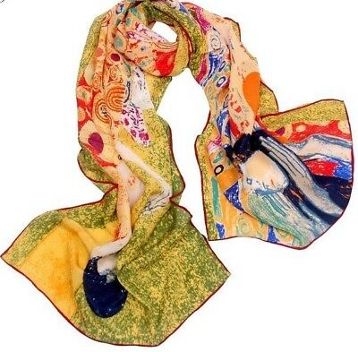100/% silk scarf Gustav Klimt /'the bathers/' Free wrapping available160x42cm