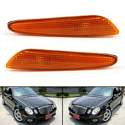 Pair For Benz W211 E-Class 03-06 Side Marker Light in Bumper Turn Signal Lamp