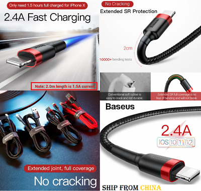 FAST charging REAL Baseus USB Lightning Cable iPhone 7 8 X XR MAX Charger cord