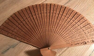 Fine Museum-Quality Antique Chinese Hand-Carved Reticulated Wooden Fan