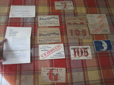 18+ Victorian Advertising Cards or Labels Fulton Fish Market NY H M Rogers Moon
