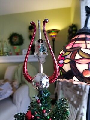 Vintage German Antique Glass Figural Christmas Angel  Feather Tree Topper AS IS