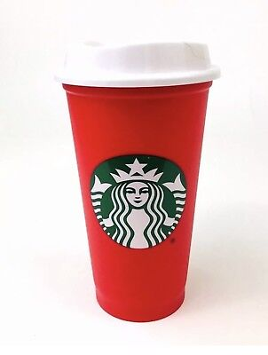 Starbucks 2018 Red Reusable 16oz Traveler Drinking Cup with drink discount NEW