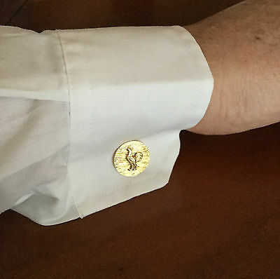 Pair Of Vintage Courage Brewery Gold Plated Cockerel Cuff Links Perfect New Rare