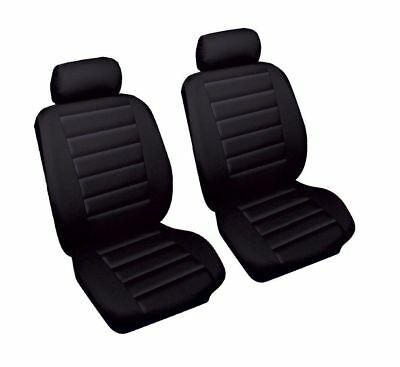 Kia Carens (2000-2006) Luxury Black Leather Look Car Seat Covers Front Pair 1+1