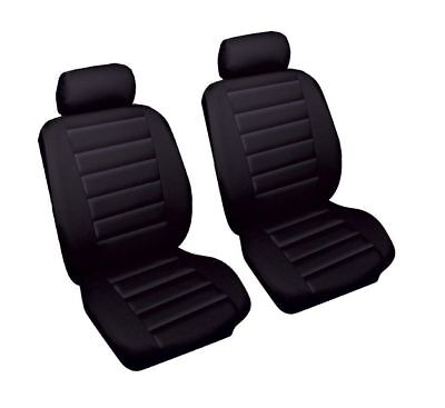 Audi A5 (2007-Date) Luxury Black Leather Look Car Seat Covers Front Pair 1+1