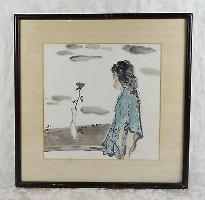 Vintage Mid Century Japanese Watercolor Painting of Somber Woman and Rose Signed