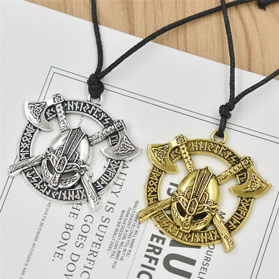 Nordic Viking Pendant Necklace Silver Gold Soilder Sword Axe Amulet Men Jewelry