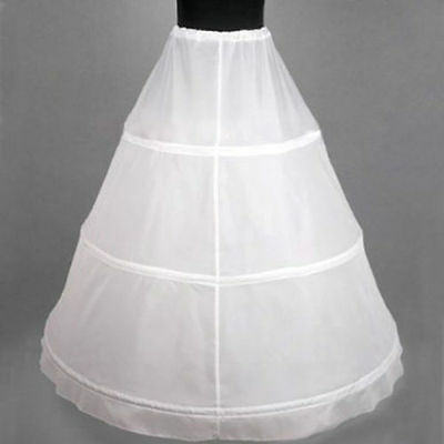 White 3-HOOP Ball Gowns BONE FULL CRINOLINE PETTICOAT WEDDING SKIRT SLIP New