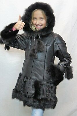 Black 100% Genuine Sheepskin Shearling Leather Girls Children Kids Coat Jacket