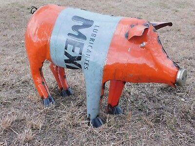 "Mexican Metal Art 30"" Drum Metal Pemex  Oil Barrel Farm Pig Home Garden Patio"